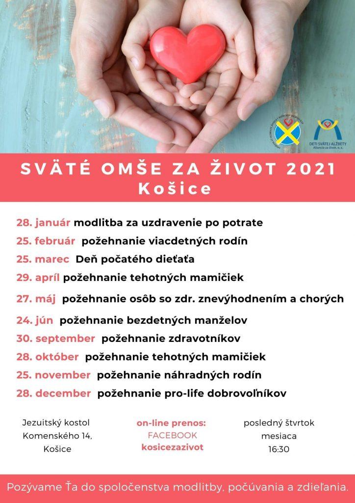 Košice, sv.omše za život, jezuitský kostol, 2021